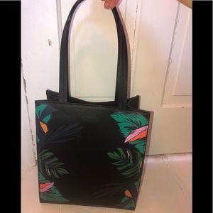 Botanical black tote purse